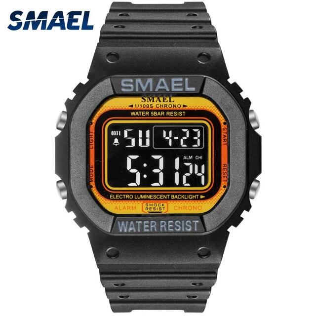 SMAEL ספורט שעונים Led דיגיטלי ספורט Mens שעונים עמיד למים דיגיטלי שעון 1801 זכר שעון Relogios Masculino צבאי שעון