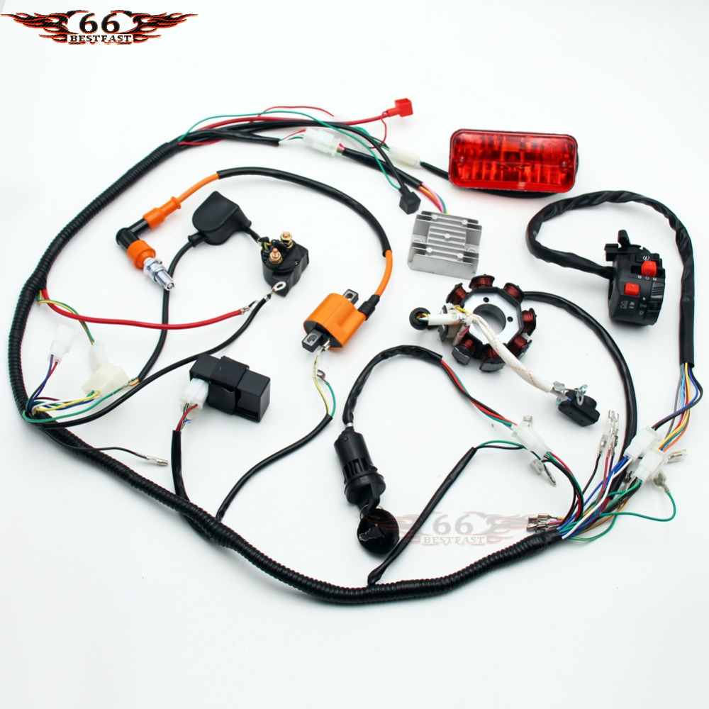 110cc Atv Parts Full Electrics Wiring Harness Cdi Coil Quad Go Kart Complete 4 Stroke Buggy Gokart 150 200 250 300cc 8