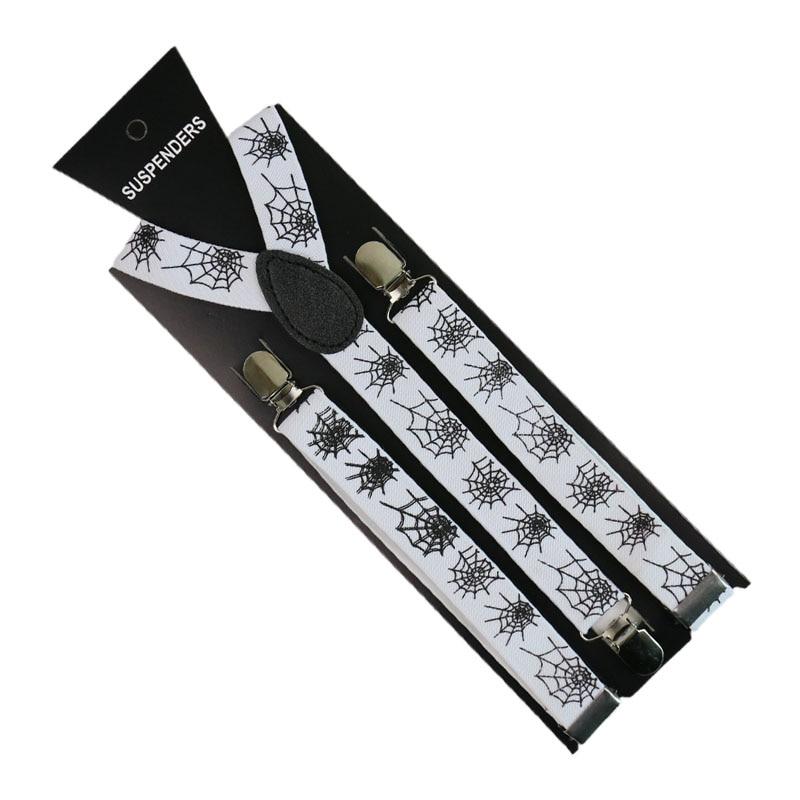 Winfox Fashion 2.5cm Wide Black White Spider Web Suspenders Men Women  Adjustable Clothes Suspenders Pants
