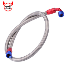 evil energy AN10 1.2Meter Stainless Steel Brained Fuel Gas Oil Hose Line Tube Straight Elbow Swivel End Fitting JDM