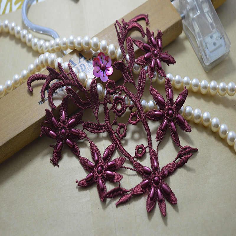 (2 unids/lote) Envío Gratis vestido de boda decorado con una variedad de colores de lentejuelas de Organza flor Applique de Patches-c002