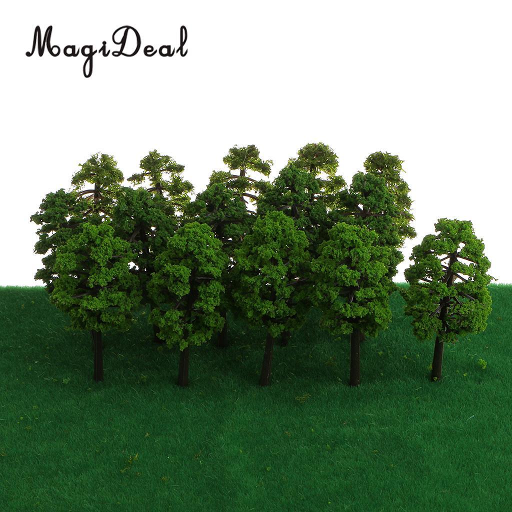 MagiDeal Simulation 60Pcs 1/150 Scale Model Trees Layout Train Railway Diorama Landscape Scenery for House Garden Park Decor