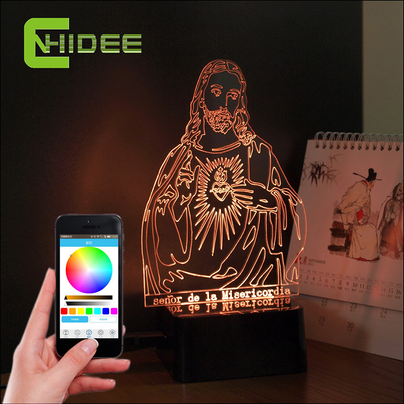 Creative Gifts Jesus 3d Led Nightlight Kids Desk Table Lampara Bluetooth Music Lamp Smart Phone Controller Party Home Lighting creative flip book page led nightlight