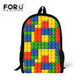 Teenager Boy Tetris Pattern Backpack to School Student Girls Kids Colors Dot Printing Backbag for Book Two Side Pocket Back Bag