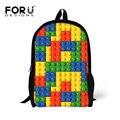 Tetris Padrão Mochila para Estudante Da Escola Crianças Meninas do Menino do adolescente cores Dot Impressão Backbag para Reservar Dois Bolso Lateral de Volta saco