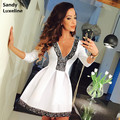 2016 Summer Women Dress Style Sexy Deep V Lace Pattern Dress White Black Red Dress Fashion Dresses S-XL Vestido Cheap Sale 060