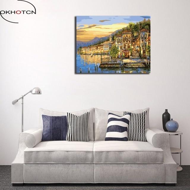 OKHOTCN Acrylic Paint On Canvas Artwork Framed Seaside Scenery House ...