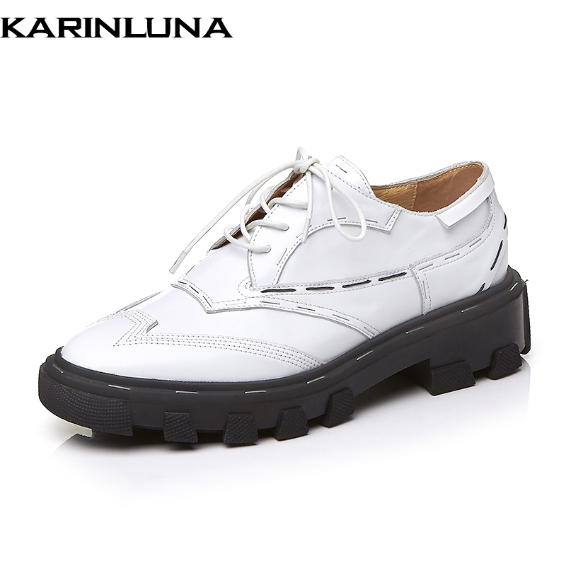 Karinluna 2019 luxury brand design genuine cow leather pigskin Shoes Woman fashion lace up oxford Women shoes flats