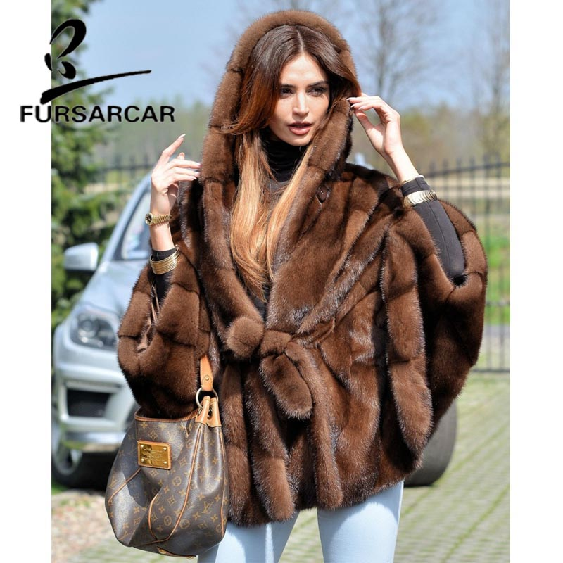 FURSARCAR Women Real Fur Coat New Fashion Bat Sleeved Thick Warm Mink Fur Coat With Hood Winter Luxury Female Nature Fur Jacket-in Real Fur from Women's Clothing