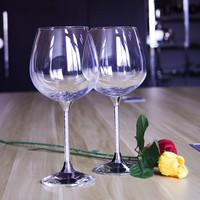Customize Logo For Wedding Red Wine Glass Cups 2 Piece Set Crystal Base With Rhinestones