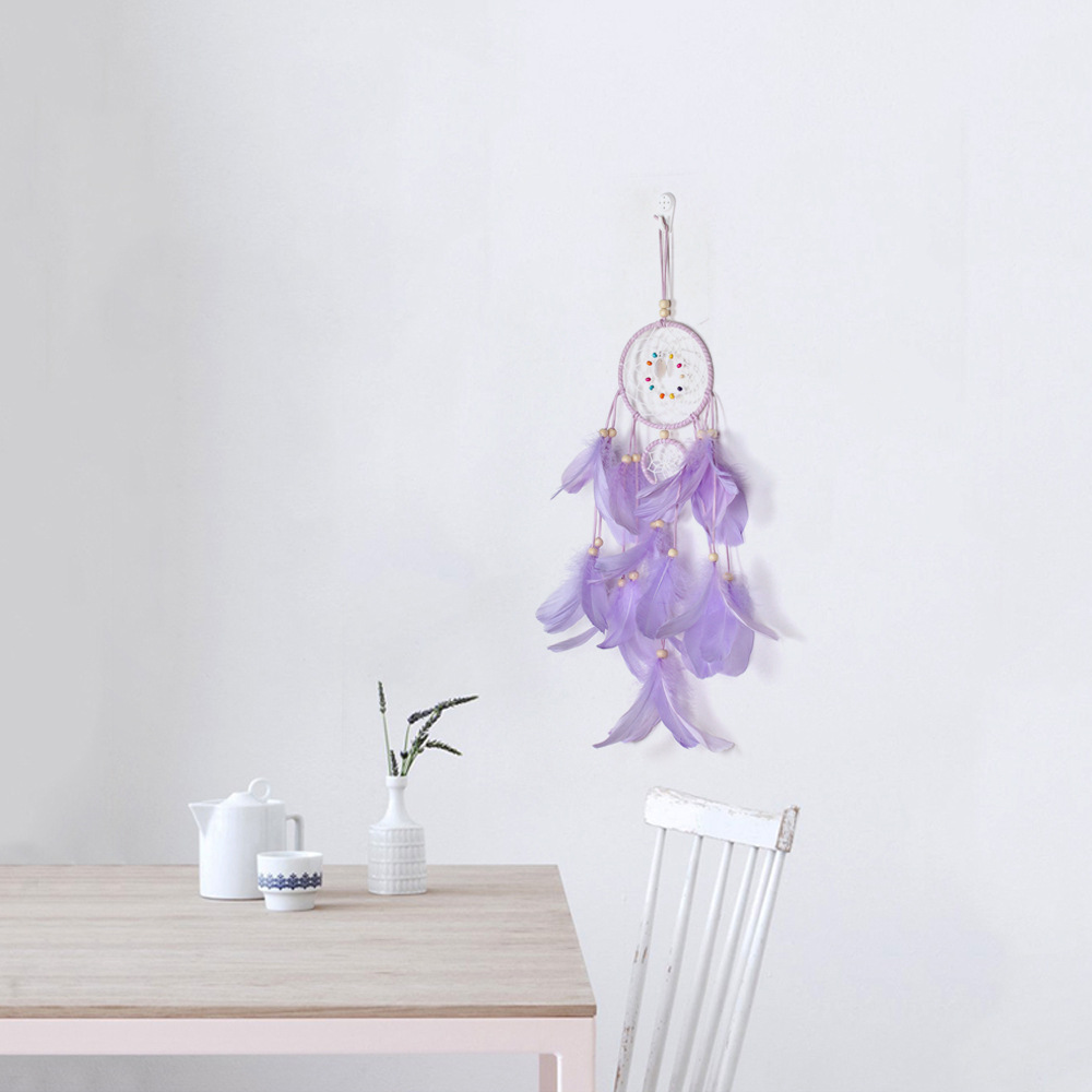 Indian Dream Catcher Net With Feathers Wind Chimes Handmade Wall Hanging Dreamcatcher Craft Gift Home Decoration in Wind Chimes Hanging Decorations from Home Garden