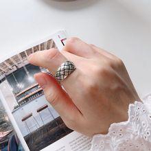 Silvology 925 Sterling Silver Rhombus Grid Rings Vintage Do Old Minimalist Japan Korea Style Rings for Women Retro Jewelry Gift korea old
