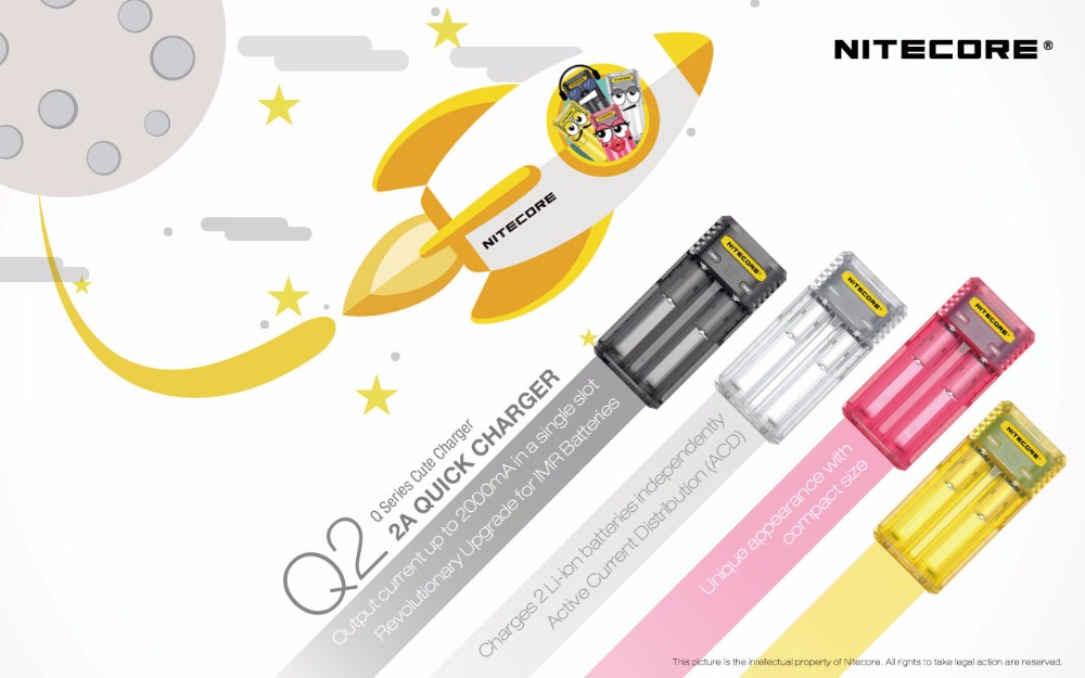 Original Nitecore Q4 Cute Battery Charger for 18650 14500 16340 26650 IMR Li-ion/12V Input Charing for A AA AAA Batteries