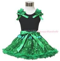 St patrick dag vlakte stijl black top shirt bling, groen pailletten pettiskirt 1-8Y MAPSA0434
