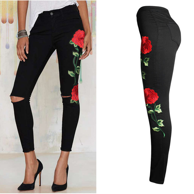 2017 Apparel Rose Embroidery Ripped High Waist Jeans For Women Trousers Skinny Black Pants Vintage Denim Slim fit Pants Femme
