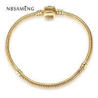 Real Original 925 Sterling Silver Gold Color Barrel Clasp Snake Chain Basic Bracelet Bangle Fit Pan