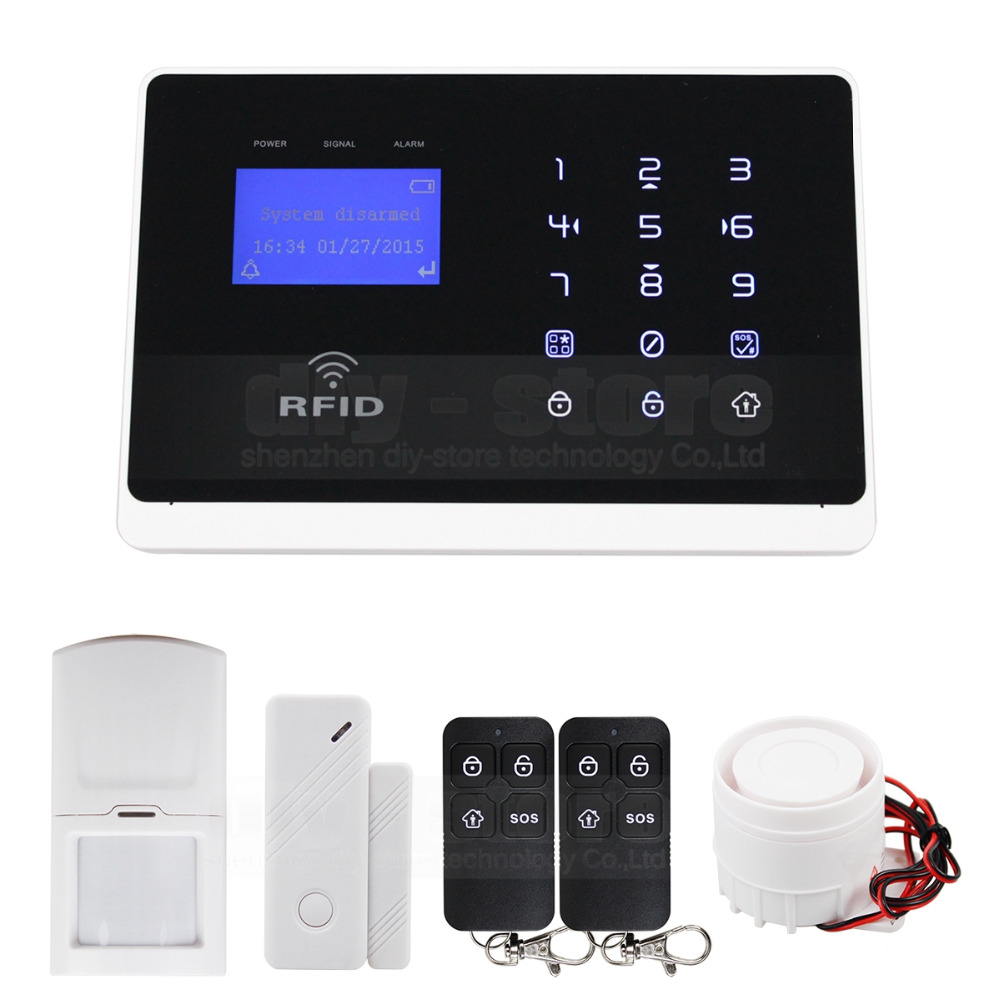 DIYSECUR Wireless & Wired Defense Zones GSM Home Security Burglar Alarm System + IOS/ Android App M2FX diysecur wireless and wired gsm automatic dialing alarm system m2bx pet friendly home security