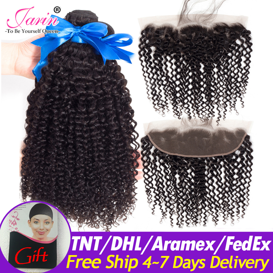 Jarin Mongolian Kinky Curly Hair Bundles With Frontal 13 4 Pre Plucked Frontal Remy 100 Human
