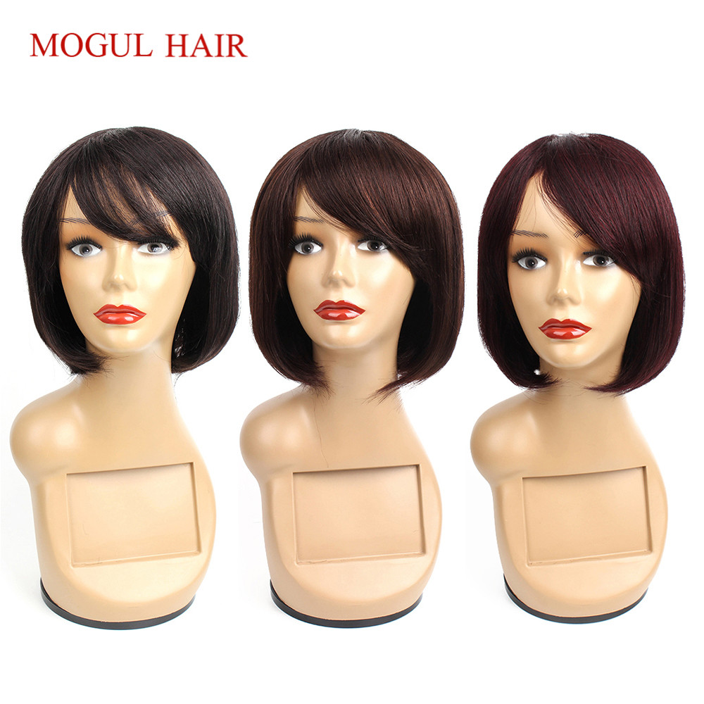 Mogul Hair Straight Human Hair Wigs With Bang Black Brown Burgundy 99j Machine Made Lace Crown Wig Short Hair Style Chinese Hair