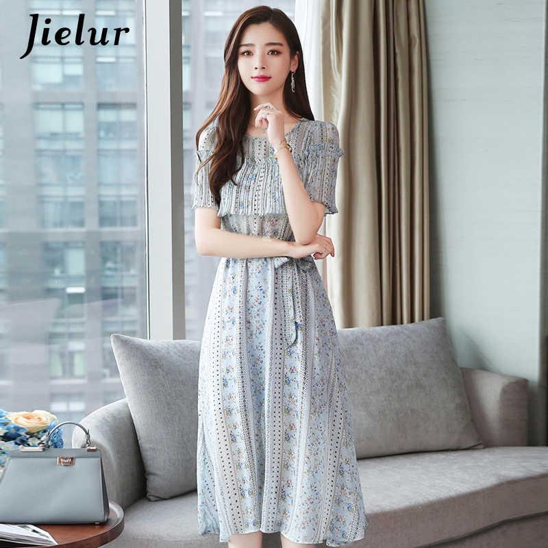 Jielur Vestidos De Festa шифоновое платье с цветочным принтом и поясом в Корейском стиле, женское летнее винтажное модное Цельнокройное подкладка для платья Vestido Femme