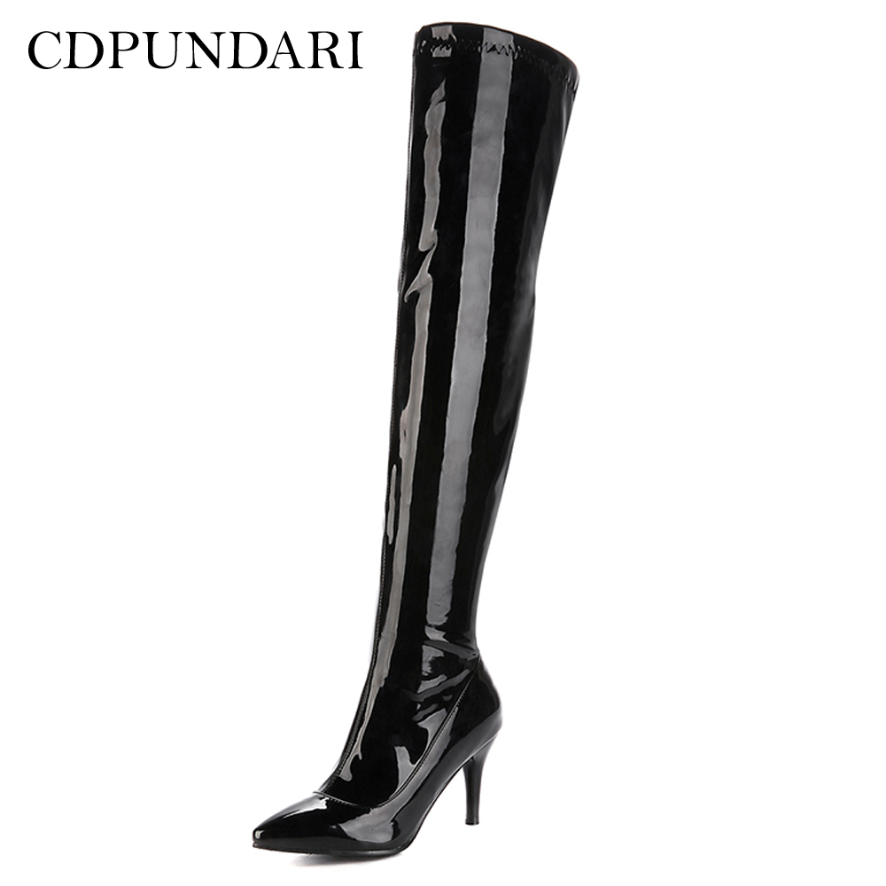 CDPUNDARI High heel over the knee boots women thigh high boots Ladies Winter shoes woman botas mujer bottine femme black redCDPUNDARI High heel over the knee boots women thigh high boots Ladies Winter shoes woman botas mujer bottine femme black red