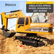 Pokich RC Excavator Remote Control truck toy Auto Lift Engineering Car Dumper Tilting Cart Tip Lorry Tractor Crawler Digger Toy
