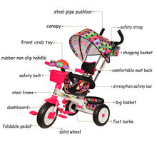CANCHN 4 in 1 Children Tricycle, 3 wheels baby tricycle with safety bar, Steel Frame Kids Tricycle, Fashion Kids Trike