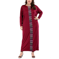 2018 O neck patchwork long sleeve Maxi Long Dress red solid batwing sleeve muslin dress modest loose laides vetidos