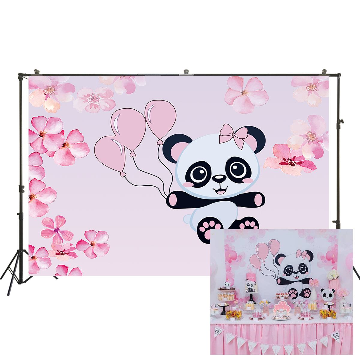 Cartoon Background Wall Panda Angel Theme Photography Backdrop Birthday Party Baby Shower Photo Background Banners Newborns Photo Booth Studio Props Portrait Photo Backdrop Video Shooting Background