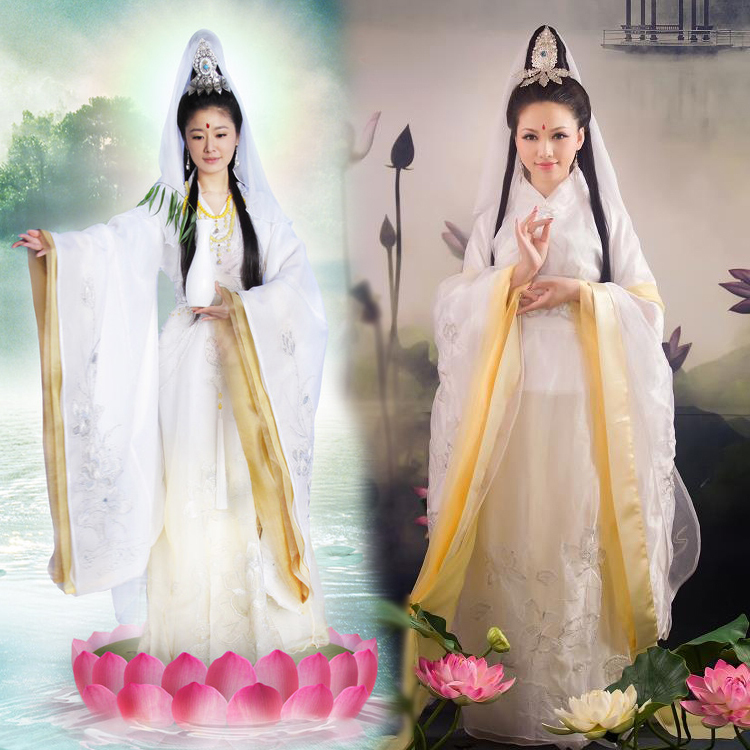 3 Designs New TV Play Legend Of Sea Goddess Mazu Guan Yin Costume Drama Costume For Photography Including Hair Accessory