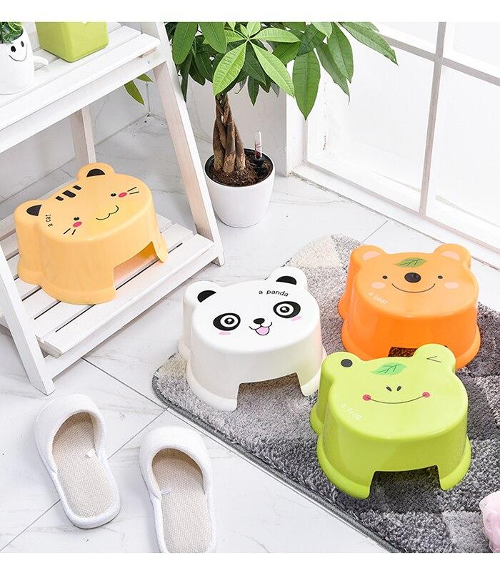 Cartoon Living Room Thicken Plastic Stool Bathroom Anti-Slip Bench Stool Animal Pattern Small Step Stool Children's Stool