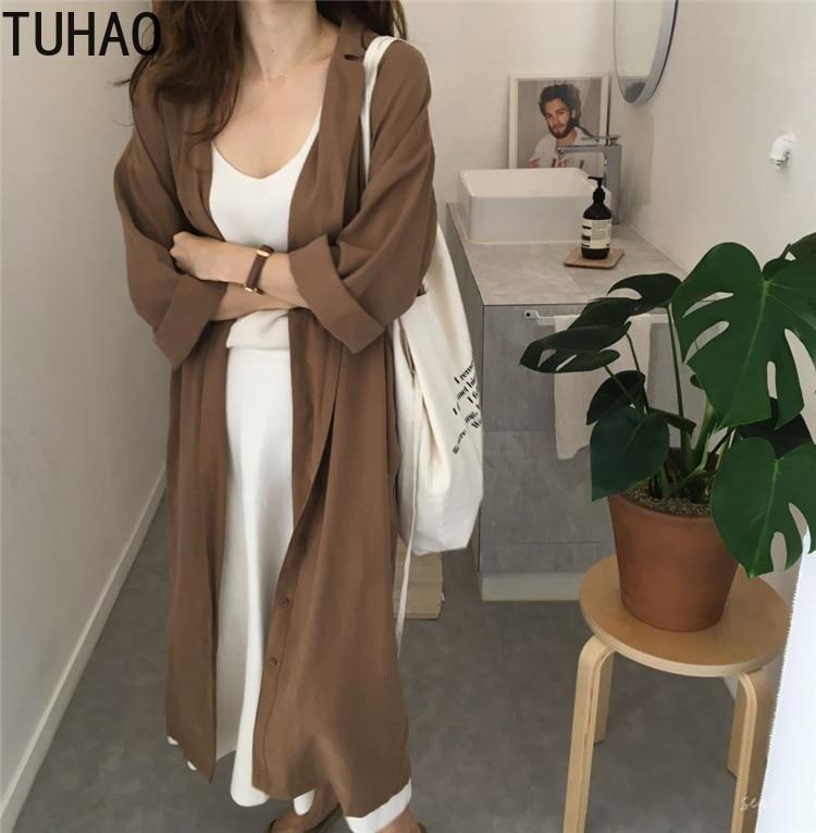 TUHAO 2019 Autumn   Trench   Coat Dress for Women Long Casual Windbreakers Elegant Fall Overcoat Womens   Trench   Coats