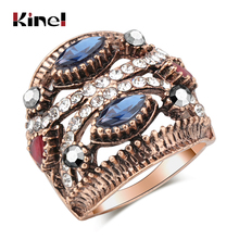 Kinel Natural Stone Vintage Ring For Women Bohemia Ethnic Wedding Jewelry Antique Gold Color Turkish Punk Big Rings 2019 New