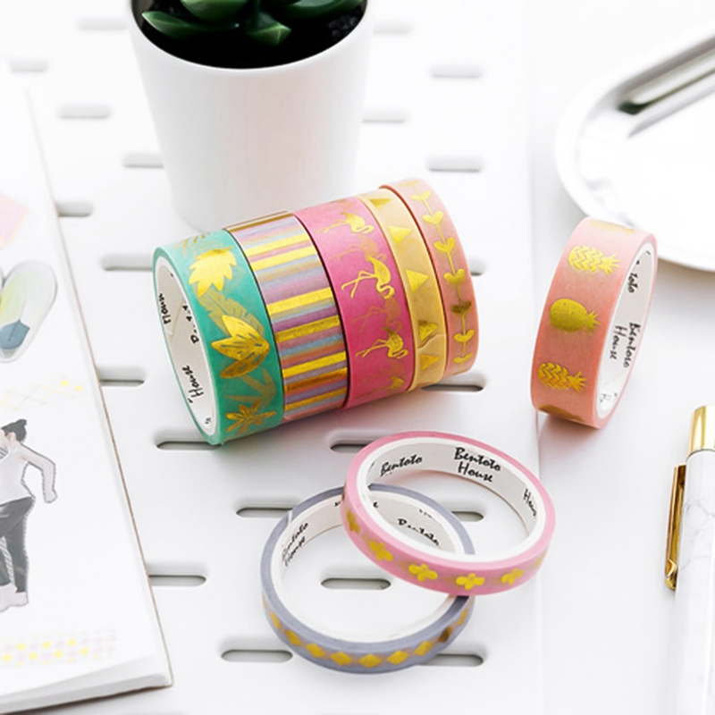 4 Roll Tearable Tape Life Style Washi Paper Deco Scrapbooking Sticker Gift Box