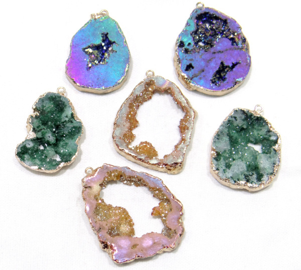 wholesale Titanium Crystal Druzy Quartz Quartz Geode stone Irregular shape pendant crystal for diy jewelry making necklace 6pcs(China)