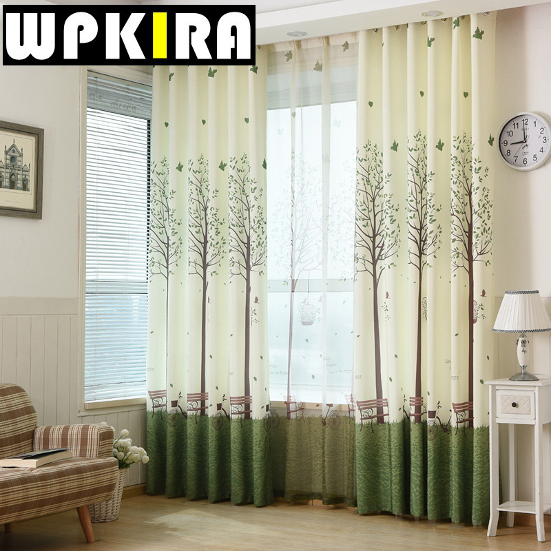 diseo moderno rbol verde de la bicicleta kids ventana cortina de tela textil branca escarpado tulle