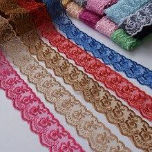 10 ярдов Красивая кружевная вышивка шитьё 40 мм в ширину