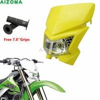 Supermotard MX Motocross Headlight 12v Headlamp Fairing For Kawasaki KLX450R Suzuki DRZ400SM RMX250 RMZ450 Universal Head Light