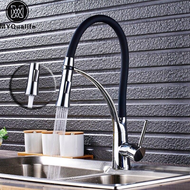 Хром Кухня раковина кран Поворотный Pull Down носик Кухня раковина бортике Ванная комната смесителей горячей и холодной воды