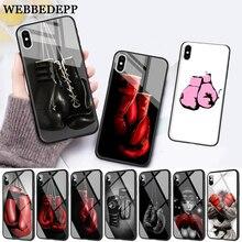 WEBBEDEPP Cartoon Boxing Girl Gloves Glass Phone Case for Apple iPhone 11 Pro X XS Max 6 6S 7 8 Plus 5 5S SE цена