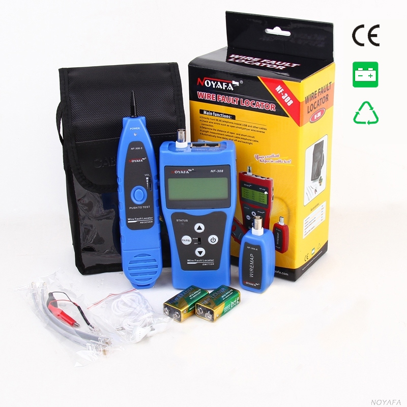 Original NOYAFA LCD Cable Tester RJ45 RJ11 Cable Length Tester Wire Locator NF 308B