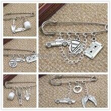 Supernatural inspired Castiel themed charm kilt pin brooch 38mm
