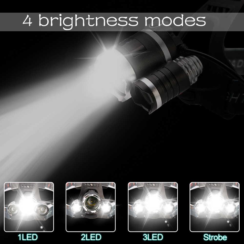 עוצמה LED פנס פנס 5LED T6 ראש מנורת 8000lumens פנס לפיד ראש אור 18650 סוללה הטוב ביותר עבור קמפינג, דיג