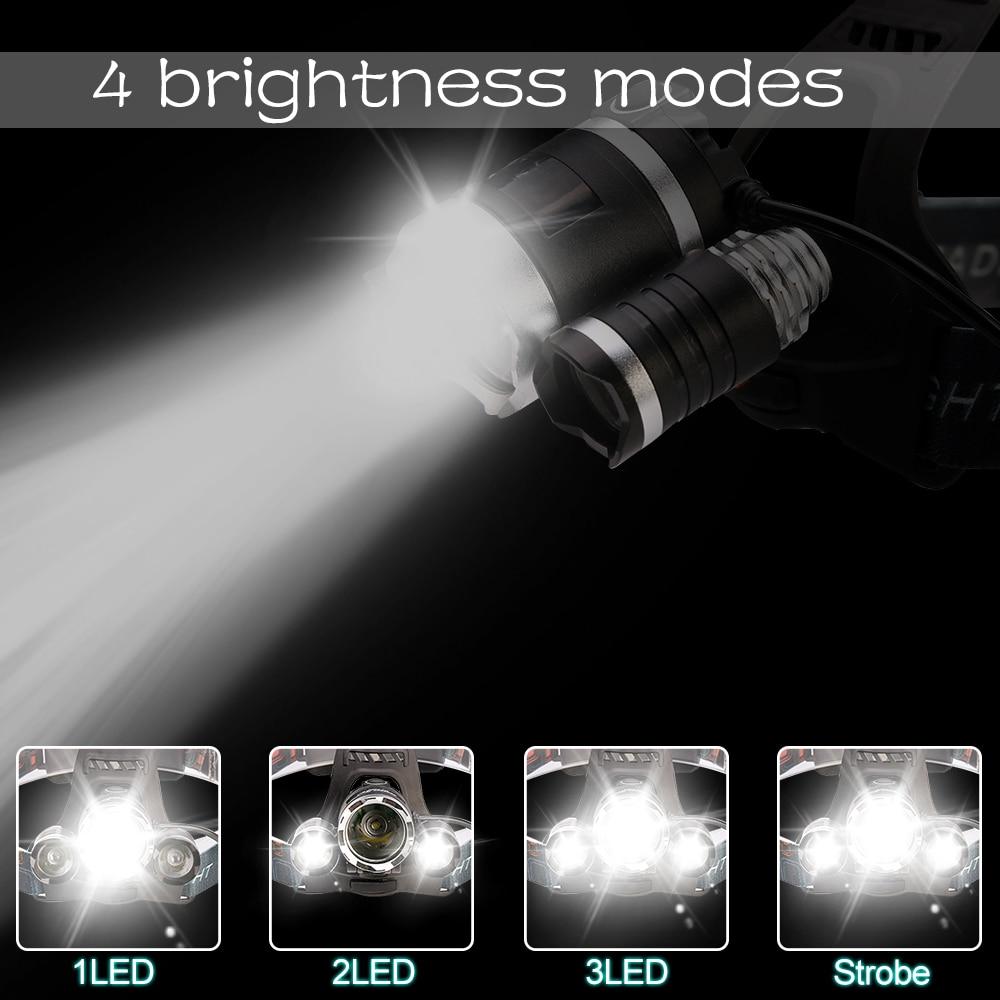 Powerful LED Headlight headlamp 5LED T6 Head Lamp Sensor Flashlight Torch head light 18650 battery Best For Camping, fishing
