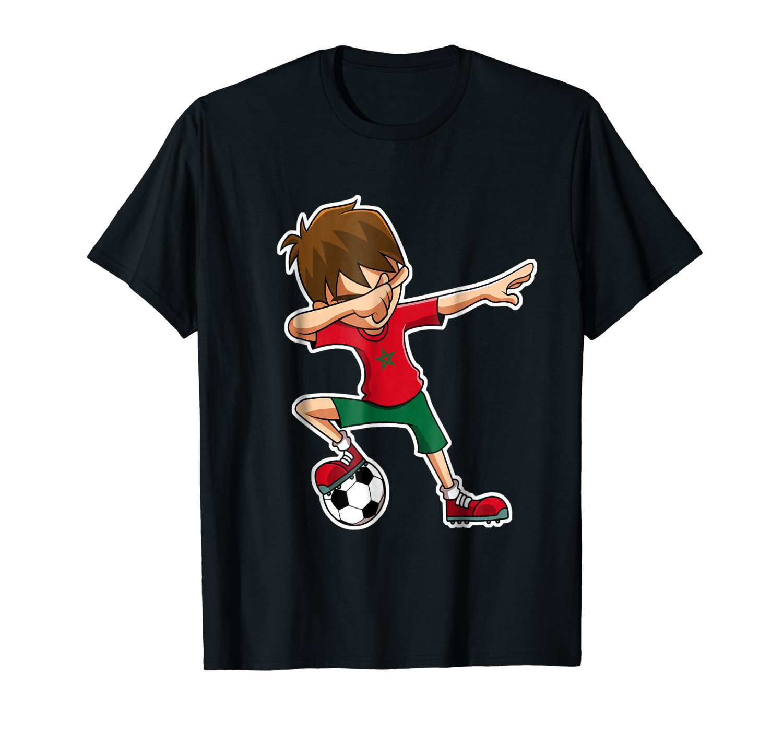 T-Shirt Summer Novelty Cartoon T Shirt Soccers Shirt for Boys, Dabbing, Morocco Flag Jersey, Gifts Movie Shirt