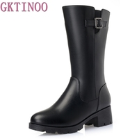 Fashion Women Genuine Leather Boots Thick Wool Winter Warm Shoes Woman Snow Boots Mid Calf High