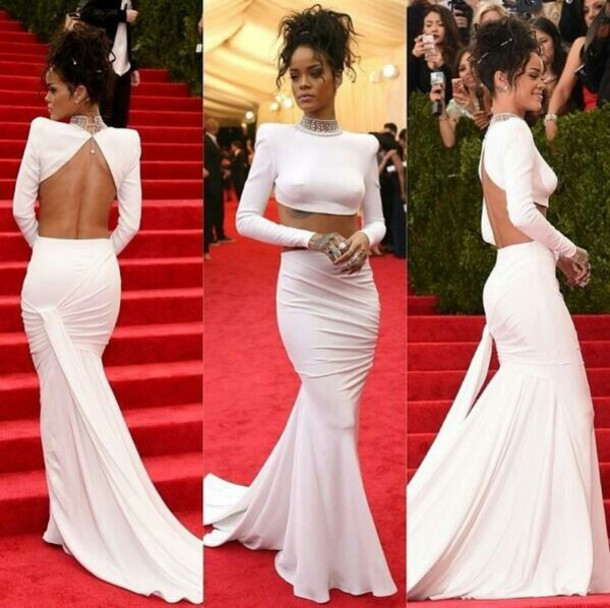 High Collar Beaded Open Back Two Piece White Evening Dress Prom ...