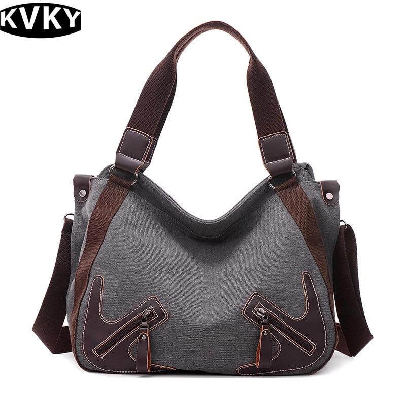 42a90ac773db US $21.34 35% OFF|KVKY 2017 New Vintage Canvas Women Handbag Tote Ladies  Shoulder Messenger Bag Patchwork Cross body Shopping Bag Bolsa-in Shoulder  ...