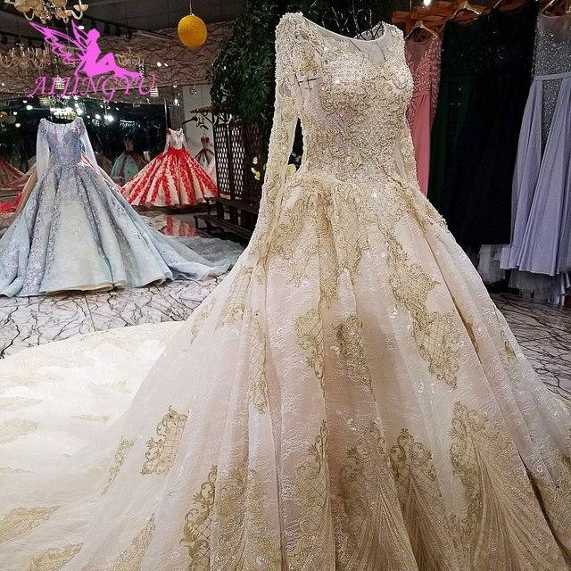 AIJINGYU suknia ślubna z tkaniny Cape Plus rozmiar dla panny młodej z rękawem Online nowoczesne suknie z rękawami sukienki ślubne