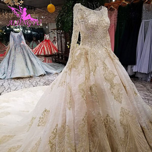 Image 1 - AIJINGYU חתונה שמלה עם גלימה בד בתוספת גודל עבור הכלה עם שרוול באינטרנט מודרני שמלות עם שרוולי כלה שמלות